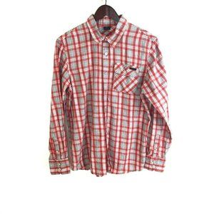 Oakley S Red Plaid Long Sleeve Button Up Shirt